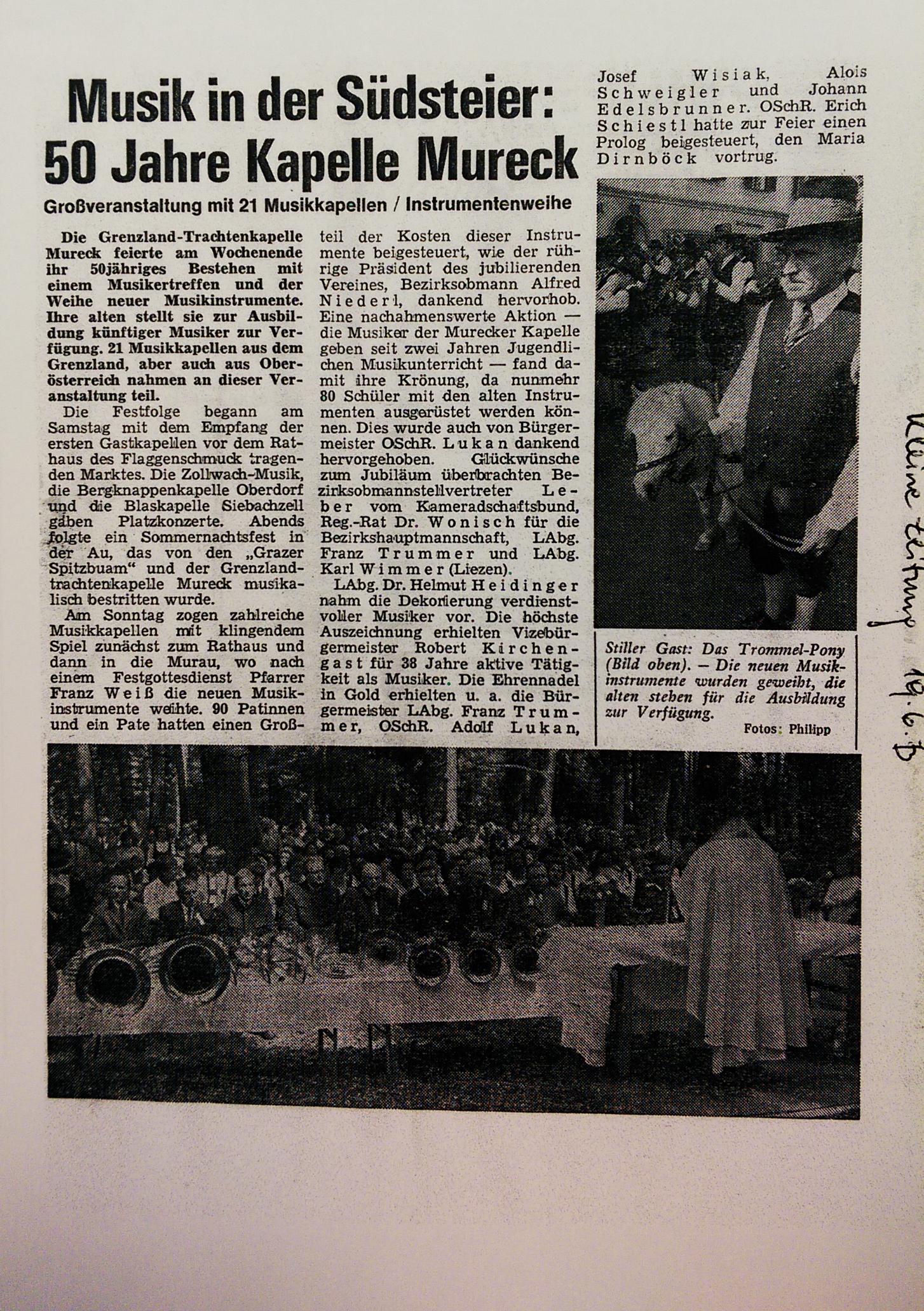 kleine zeitung 19 juni 1973 grenzlandtrachtenkapelle mureck. Black Bedroom Furniture Sets. Home Design Ideas