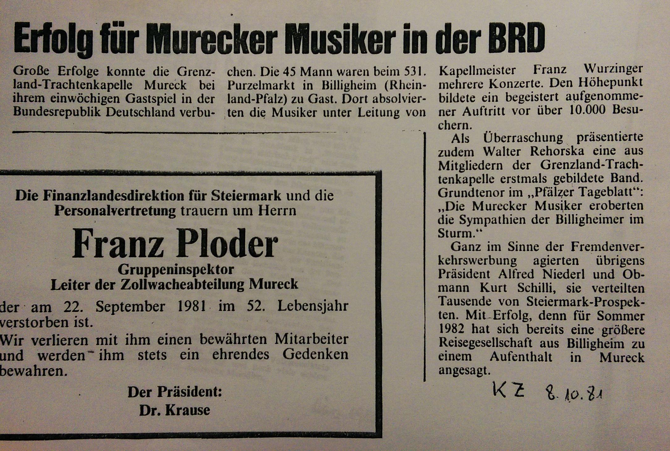 1981_10_08 Kleine Zeitung BRD Gastspiel