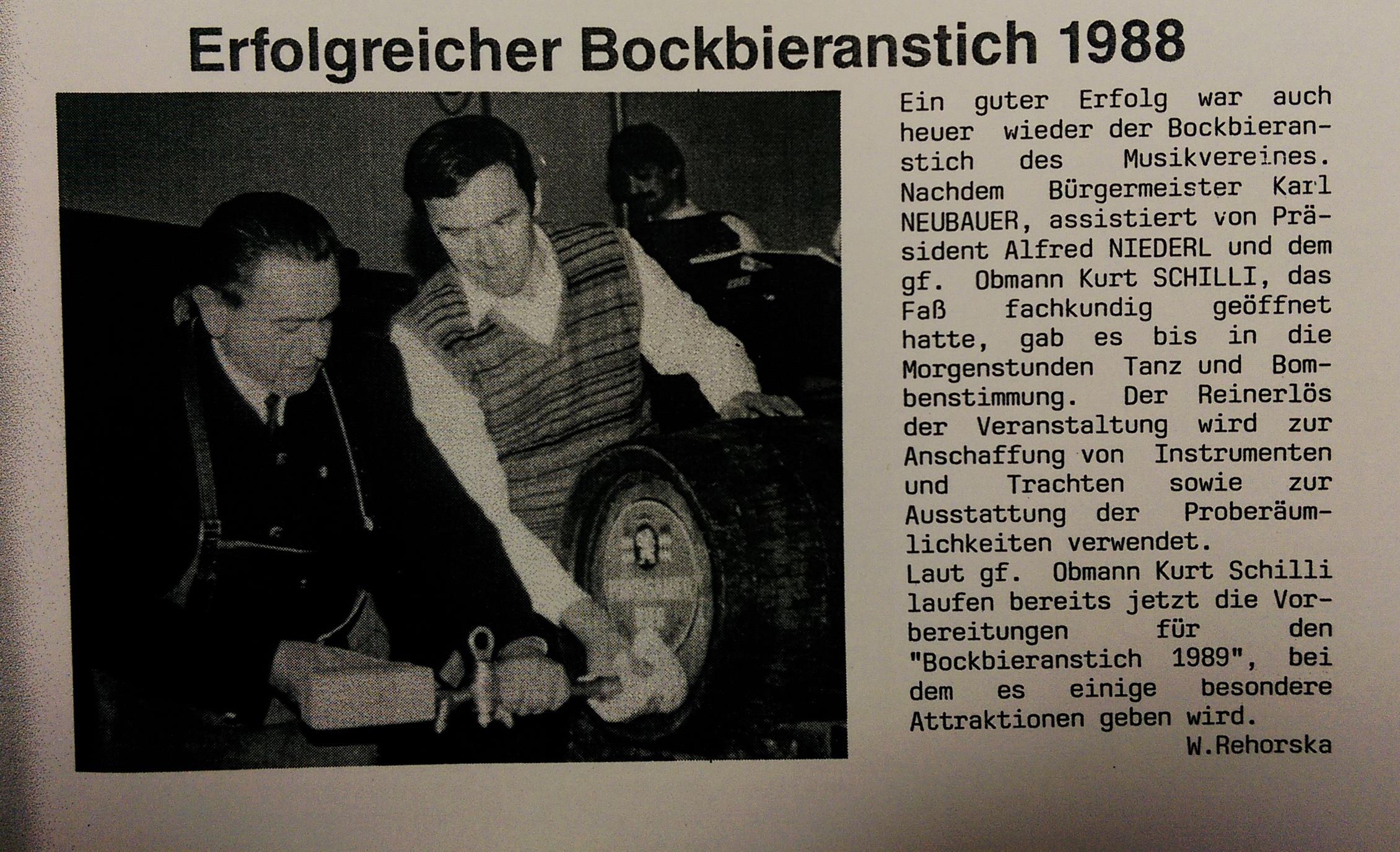 1988 Murecker Kontakte Bockbieranstich