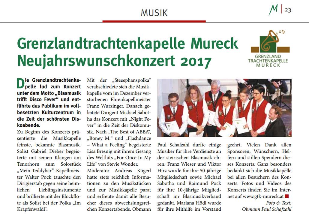 Artikel Murecker Stadtzeitung über das Neujahrswunschkonzert 2017