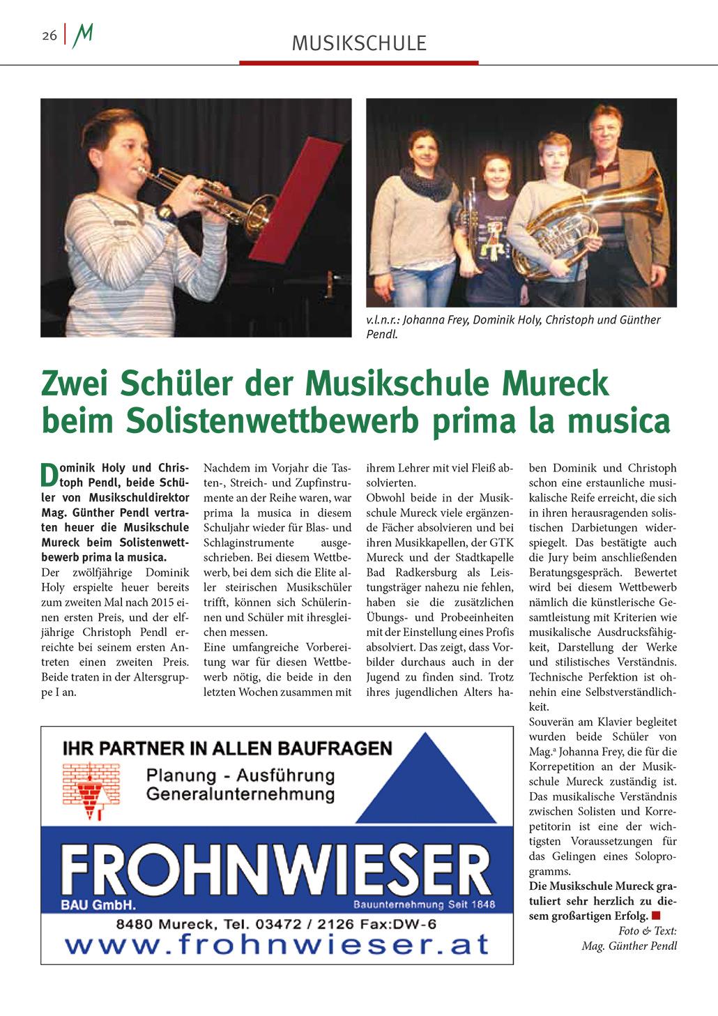 Murecker Stadtzeitung Prima la Musica