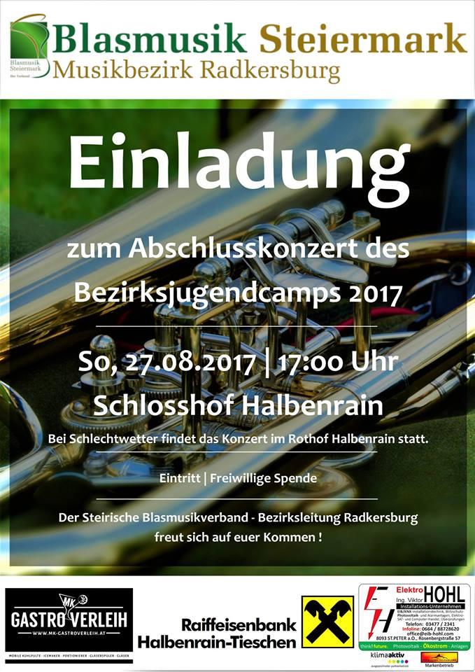Plakat Jugendcamp Musikbezirk Radkersburg 2017